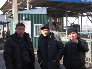 Kyrgyz men at hte border